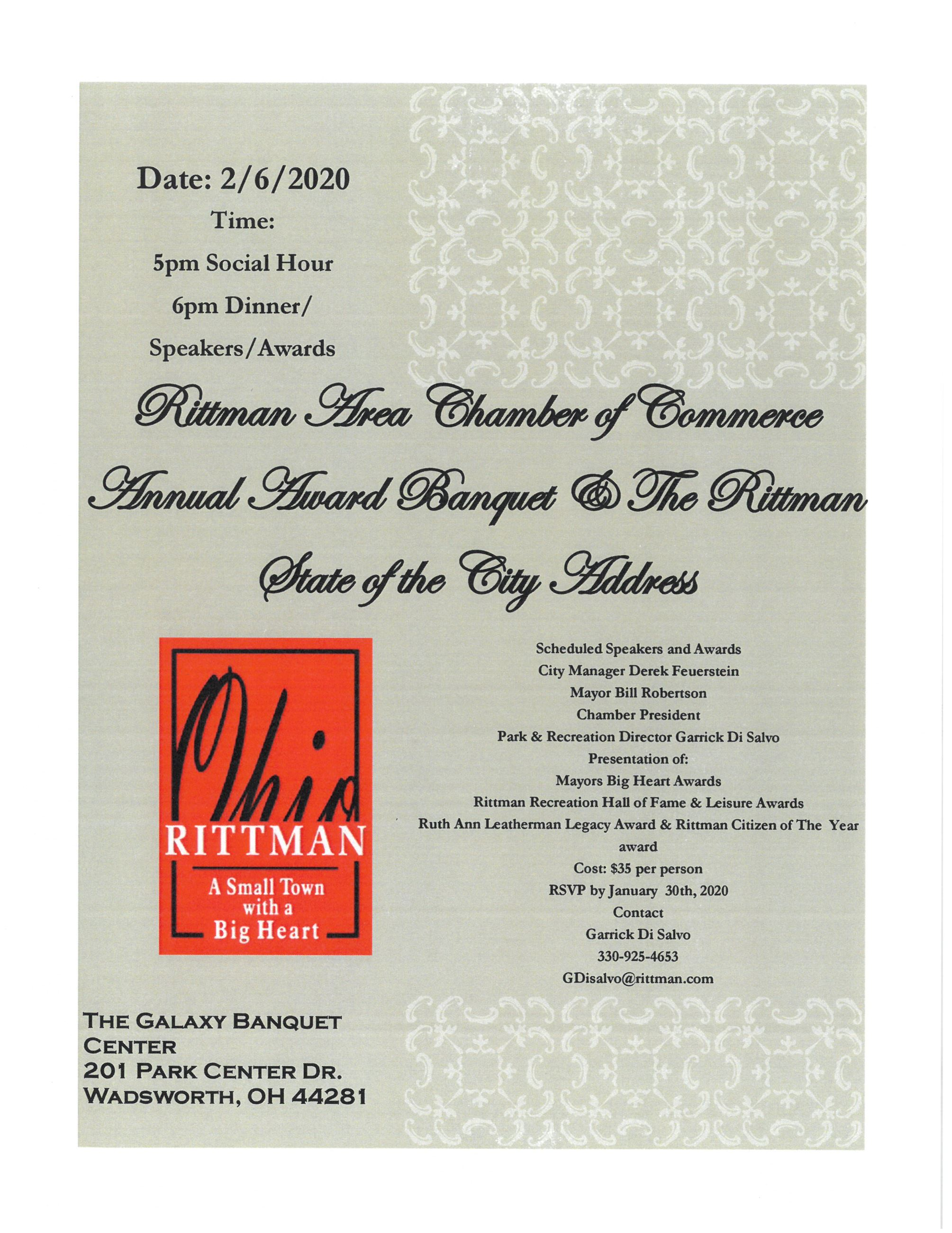 Flyer of 2020 Rittman Chamber Annual Award and State of City Address