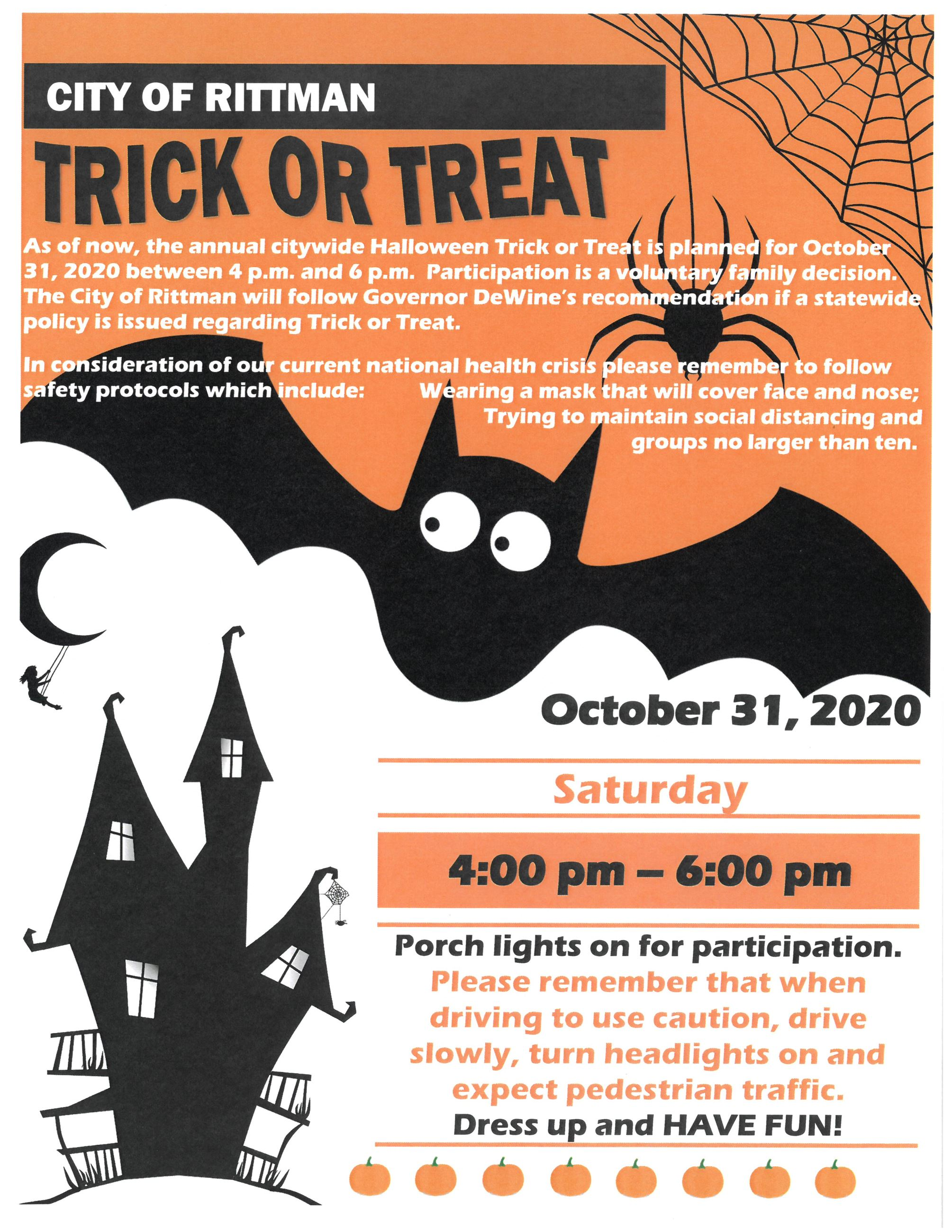 City of Rittman 2020 Trick or Treat Announcement